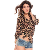 Wholesale Endearment new European and American fashion wild leopard chiffon blouses shirts