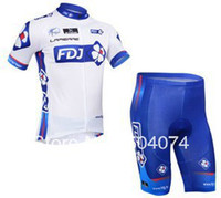 Wholesale 2013 FDJ short sleeve cycling jersey wear clothes bicycle bike riding jersey pants shorts