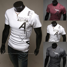 Wholesale Occident Men Slim T shirts Plus Size Round Neck Collar T shirts Casual Letters Printing Short Sleeve Polo Shirts Colors