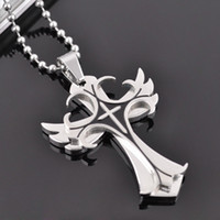 Wholesale Increase double cross wings L Stainless Steel pendant necklaces Never fade necklace jewelry