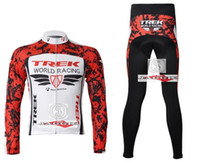 Wholesale Hot Sale TREK red long jerseys long sleeve bike clothes clothes bicycle bike riding jerseys pants sets