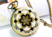 Wholesale Men s amp Women s Antique Golden Dragon Design Necklace Quartz Vine Pocket Watches