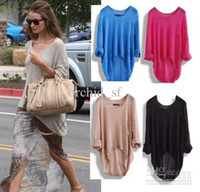 cashmere sweater - High quality See Throught New Batwing Womens Ladies Casual Loose Asymmetric Knit Top sweaters