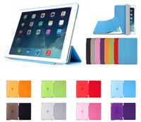 achat en gros de pu case-Pli magnetique Smart Cover + mat arrière cas pour iPad Air 2 3 4 5 6 ipad pro 9.7 Mini Mini iPad2 réfléchissant boîtier avec réveil de sommeil automatique