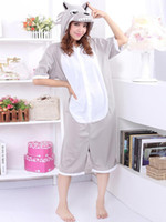 Unisex Regular  Gray Funny Wolf Pattern Cotton Kigurumi Costume r45 #u5-HHe