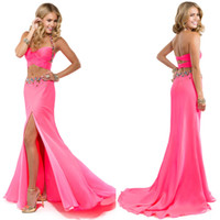 Wholesale New Arrival Crystal Beaded Halter Jeweled Neckline and Waistband Criss Cross Sexy Two Pieces Chiffon Prom Dresses