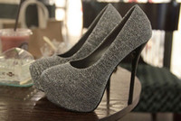 Formal Heels Stiletto Heel Fashion to build the new waterproof fine with super high heels single female shoes gray green black shoes Wedding shoes 2014