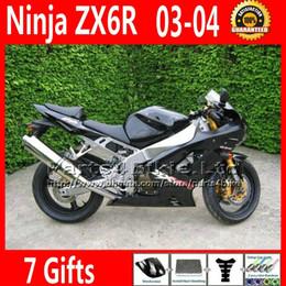 same as OEM for Kawasaki Ninja Fairing kits ZX6R 636 2003 2004 ZX 6R ZX636 black fairings body kit U76O ZX-6R 03 04 zx600