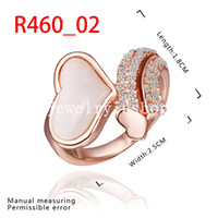 Cheap New fashion trend Jewelry Cute Opal Heart Ring 18K Gold Plated Top grade Swarovski Elements Crystal Lover Wedding Ring Valentine's Day Gift