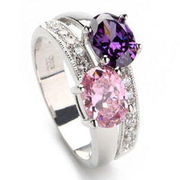 Wholesale Trendy Amethyst pink Vintage Silver Plated Cubic Zirconia ring R149 sz Recommend Promotion Favourite Best Sellers