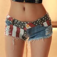 Women Shorts - European summer Women Short Jeans Club Clothes Low waistline US Flag Pattern Hole Super Mini Jeans Denim Draped Hip hop plus size XL