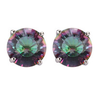 Wholesale Casual Rainbow Mystic Topaz Fashion Silver Plated stone Earrings E724 Recommend Promotion Favourite Best Sellers Time limited discount