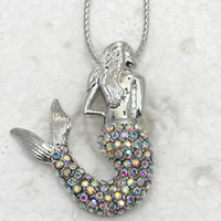 Gift aurora borealis necklace - F169 F Aurora Borealis Crystal Rhinestone Mermaid Fashion Pendant necklaces chain jewelry gift