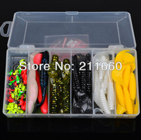 Cheap Hot Sell! 70pcs set plastic fishing lures set with box Soft Lure sleeve Lure or Soft bait Jig Big Hook Free Ship