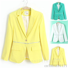 Wholesale HOT OCCUPATION TEMPERAMENT KOREAN LAPEL SLIM A BUTTON CANDY COLORED LONG SLEEVED SMALL SUIT WF