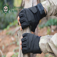 Wholesale Army Airsoft Combat Tactical Military Size L Half Finger Gloves Black