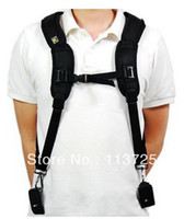 Wholesale Photography Black Double Shoulder Belt Strap for cameras for Canon Nikon DSLR tracking number