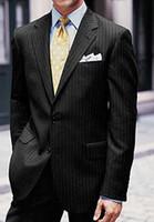 Men dhg - SELLING notch lapel Pure wool woolent two buttton black grey stripe man suit new style Christmas Gentleman DHG