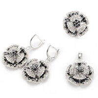 Wholesale Casual set sz Black Cubic Zirconia and White Cubic Zirconia silver Plated fashion heart set ring earring pendant
