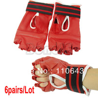Wholesale 6Pairs New Red Wrestling Style Kick Boxing GlovesFor Taekwondo Sanda Kongfu