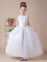 Wholesale White Tea Length A line Satin First Communion Dress r90 u5 Bg4