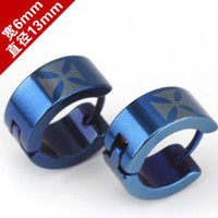 Wholesale 316L Stainless Steel hip hop earrings fashion Punk blue cross mens jewelry