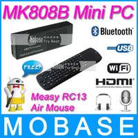 Wholesale MK808B Android4 Jelly Bean Mini PC RK3066 A9 Dual Core Stick Online TV Box with Measy RC13 S G Speaker Microphone Air Mouse