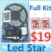 Wholesale SMD M Leds Waterproof RGB lights led strips V keys remote controller V A power supply with EU AU UK US plug A kits
