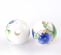 Wholesale 201430PCs Blue Flower Pattern Round Ceramic Beads mm quot Dia
