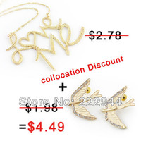Wholesale Items Fashion Gold Color Alloy Bird Stud Earrigs And Love Pendant Necklace Jewelry Set Discount NC ER