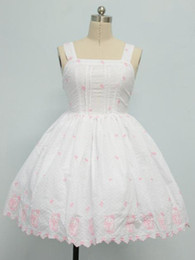Wholesale Classic White Floral Print Sleeveless Lolita Dress devil r49 u13 WvO