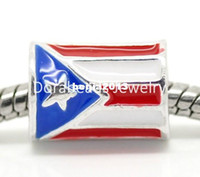 Bead Caps european beads free shipping - Silver Plated Cylindrical Puerto Rico Flag European Charm Beads x9mm quot x3 quot sold per packet of B17445