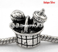 "Bead Caps B21920 Fashion Free Shipping! 10PCs Antique Silver Mom's Baby Kid Bottle Basket Set European Charm Beads 18x17mm(6 8""x5 8"") (B21920)"