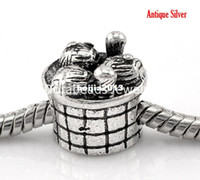 B21926 antique silver baskets - Antique Silver Knitting Wool Needle Basket European Charm Beads x12mm quot x4 quot B21926