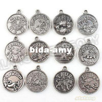 Wholesale Round Charms New Assorted Constellation Signs of Zodiac Vintage Silvery Pendant Fit Jewelery and Necklace