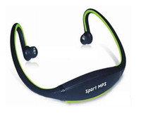 Wholesale Sport MP3 Earphones Wrap Around Headphones With TF Card Slot Green Blue Red Colors