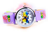 Wholesale The supply of small yellow cartoon students leather strap watch children watch can be as a gift to the children of the family