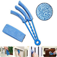 Wholesale S5Q washable cleaning brush Microfibre Triple Blinds Venetian Slats Blind Dust Cleaner Duster AAAANF
