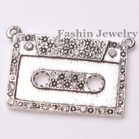 Wholesale New mm Silver Tone Crystal Rhinestone Music Tape Pendants Alloy Pave Slider Charms DIY Necklace
