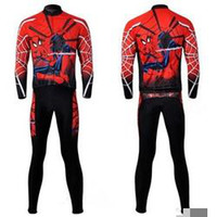 Wholesale Men long Sleeve cycling jersey pants set for Spider Man Cycling Wear long bike sports clothing