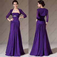 Wholesale 2014 Hot Sale Purple Chiffon Strapless Pleats and Blink Beads Floor Length A line Cheap Mother of the Bride Dresses with Jacket