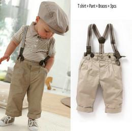 Wholesale baby suit children s clothing gentleman boy suit hirt pant suspender boy sports sets Baby Bib Set cool style