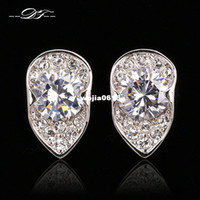 Wholesale Exaggerated Classic Designer CZ Diamond Stud Earrings Platinum Plated Crystal Rock Wedding Jewelry For Women DFE677