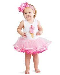 Wholesale Summer Baby Girls Rompers Babies Vest Bubble Yarn Sleeveless Ice Cream Cake Tutu Dress Baby Pettiskirts Kids Clothes Infant Gauze Dress