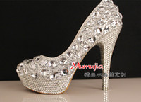 Wholesale Luxury shiny crystal beaded rhinestone cm high heel female lady s Women Bridal Evening shoe Prom Party club Bar Wedding Bridesmaid shoes