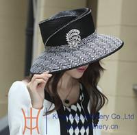 Wide Brim Hat ladies dress hat - Women Dress Hat Church Hat Fashion Dress Kentucky Derby Hat Ladies Polyester Hats Fashion Hat Black Color Wide Brim New Arrival