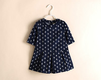 Wholesale New product Spring Autumn Children Dress half sleeve Shirt small Flower Girls Dresses Baby Kids Clothes TS223