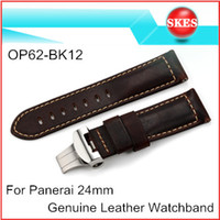 Wholesale OP62 BK12 Chocolate Genuine Leather Watch Band mm Watch Strap For Panerai With mm Butterfly Deployment Buckle
