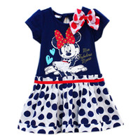 Wholesale Ready to Ship girl girls short sleeve polka dots dress with bow minnie mouse baby cartoon clothing
