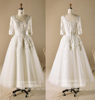 Wholesale Cheap Half Sleeves Short Wedding Dresses A Line Scoop Neck Applique Organza Really Images Bridal Gowns byk8R409